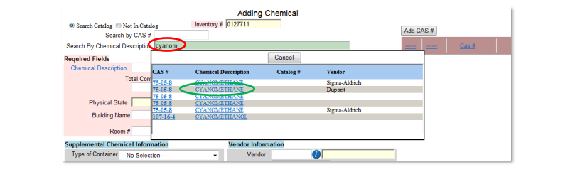 example 3 of adding a chemical