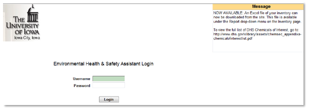EHS Assistant Login sample