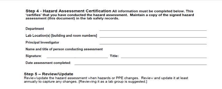 Hazard assessment certificate step 4