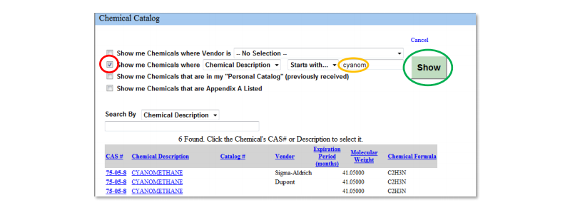 Detailed Chemical Search example
