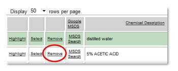 Deleting Chemicals sample