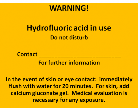 Hydrofluoric acid in use Label