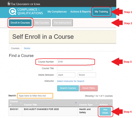 Image of Login page for training registration.