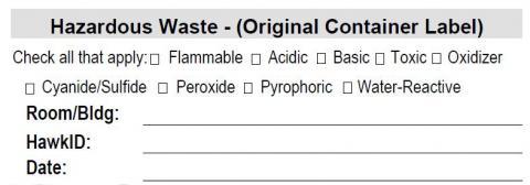 Small Hazardous Waste Label