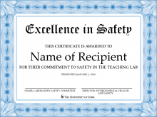 Excellence in Safety Award certificate