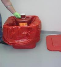 Biohazardous waste container