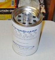 VaporGuard gas scavenging canister with exhaust ports on the top.